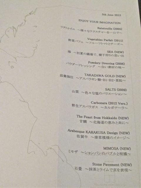 Takazawa menu © Tokyo Food File