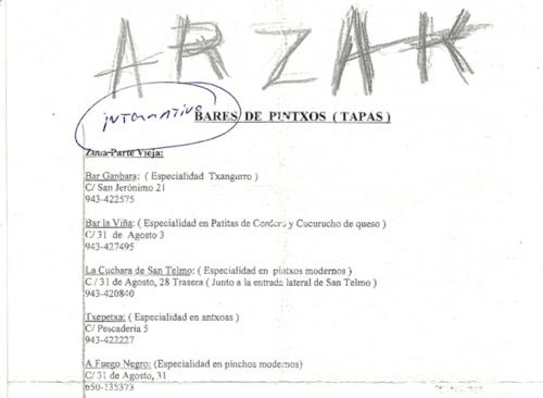 Arzak pintxos list ©Tokyo Food File