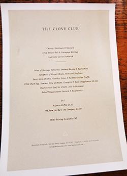 Clove Club menu © Tokyo Food File